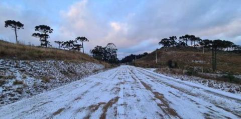 Que frio! Temperatura negativa e muita neve em SC e no RS de quarta para quinta-feira
