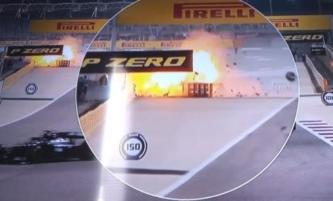 Grosjean sofre acidente assustador no GP do Bahrein e tem queimadura nas mãos; prova é paralisada