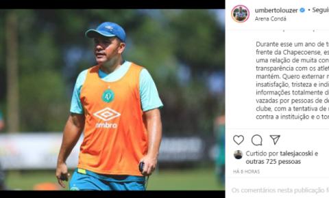 Louzer nega conversa com outros clubes e explica insatisfação com a diretoria da Chapecoense