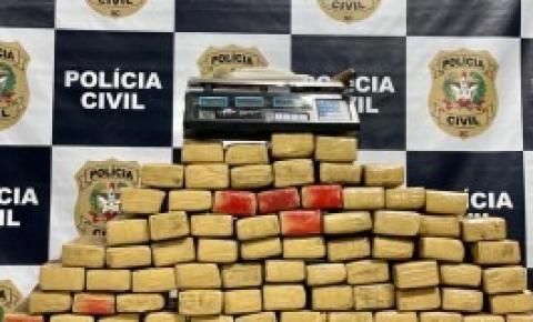 Em Florianópolis, Polícia Civil apreende carga de 96 quilos de maconha e faz prisão
